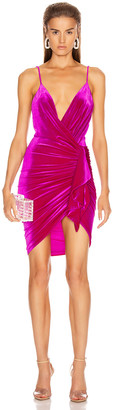 Alexandre Vauthier for FWRD Sleeveless Ruched Velvet Mini Dress in Fuchsia | FWRD