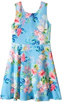 Us Angels Printed Pique Knit Sleeveless Dress w/ Open Back & Flare Skirt (Big Kids)