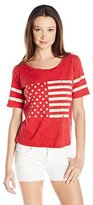 Miss Chievous Juniors' Americana 3 Screen-Print Cropped T-Shirt