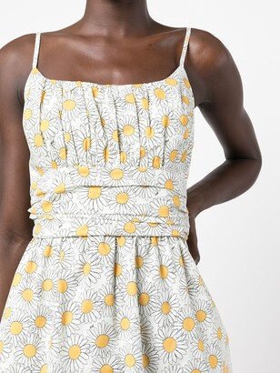 HVN Daisy-Print Ruched Dress