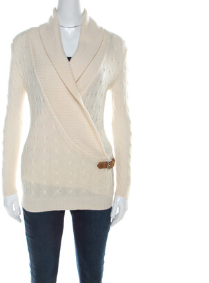 Ralph Lauren Cream Cable-Knit Cashmere Shawl Collar Strap Detail Jumper M