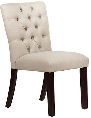 One Kings Lane Kim Tufted Side Chair - Talc Linen - upholstery, talc; legs, espresso