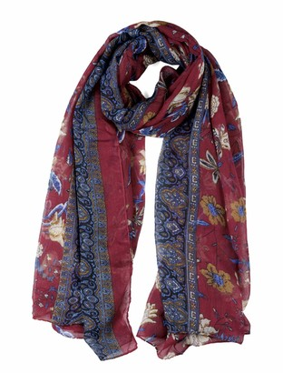 """uxcell Large Polyester Scarves Beach Shawl Vintage Style Wraps For Women Burgundy 71""""x35.5"""""""