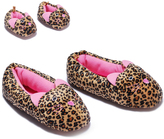 Dollie & Me Brown & Pink Leopard Slippers & Doll Slippers - Girls