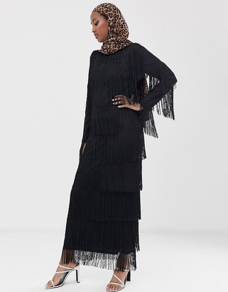 ASOS DESIGN long sleeve fringe column maxi dress