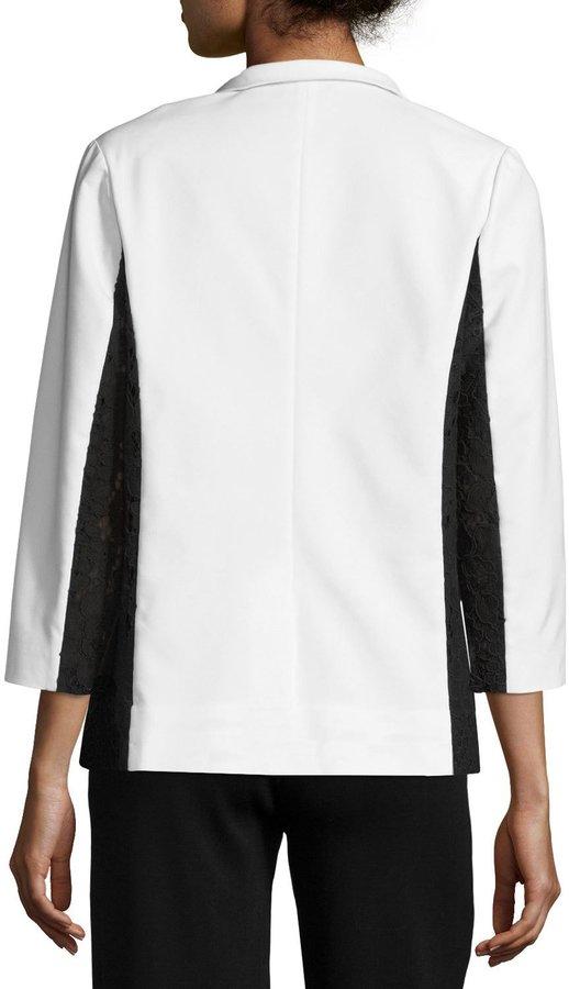 Misook Lace-Detail Wing Collar Jacket, Plus Size