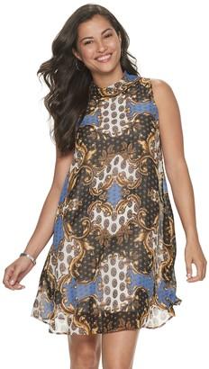 Sharagano Women's Print Mockneck Chiffon Dress