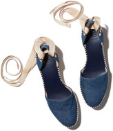 Tory Burch Dandy Espadrille Wedge Sandal in Blue Denim/Natural, Size 37