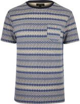 River Island MensNavy geometric pattern t-shirt