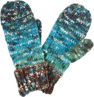 Pia Rossini Ladies Zaylie Blue & Green Multi Speckle Knit Mittens Gloves Winter Accessory