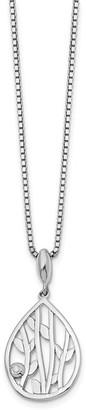 Sterling Silver Polished Diamond Leaf Pendant Necklace by Versil