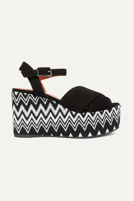 Castaner Missoni Engie 105 Crocheted Canvas And Suede Wedge Espadrilles - Black