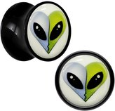 """Body Candy Acrylic Kissing Aliens Glow in the Dark Saddle Plug Pair 5/8"""""""