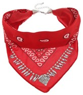 Women's Necklace Folded Bandana Choker with Navette-Red