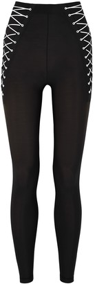 Adam Selman Sport Lace-Up Black Stretch-nylon Leggings