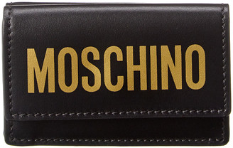 Moschino Logo Print Leather French Wallet