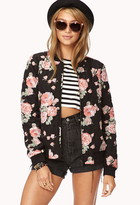 FOREVER 21 Wild Rose Quilted Bomber Jacket