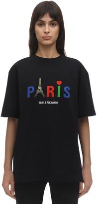 Balenciaga PARIS PRINT COTTON JERSEY T-SHIRT