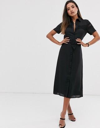 Fashion Union midi button down shirt dress with lace panel and belt