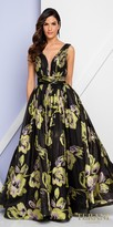 Terani Couture Plunging Sleeveless Floral Gathered Evening Dress