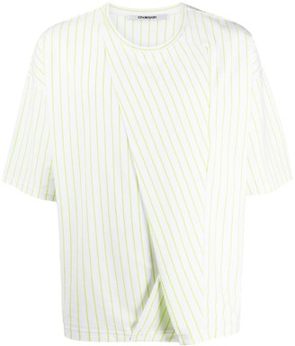 Chalayan striped folded-panel T-shirt