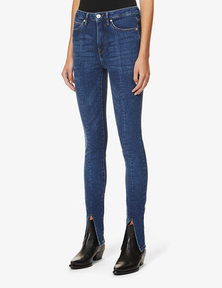 Tomorrow Bowie split-cuff skinny high-rise organic cotton and recycled polyester-blend jeans