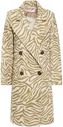 See by Chloe Double-breasted Zebra-print Wool-blend Coat