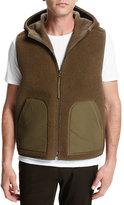 Vince Reversible Sherpa Hooded Vest, Brown