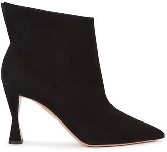 Aquazzura Sky 85 Black Suede Ankle Boots