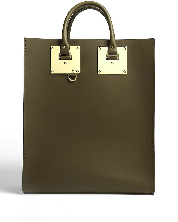 Sophie Hulme Large Leather Tote Bag With Gold Plated Hardware