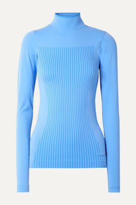 FALKE ERGONOMIC SPORT SYSTEM Stretch-knit Turtleneck Top - Light blue