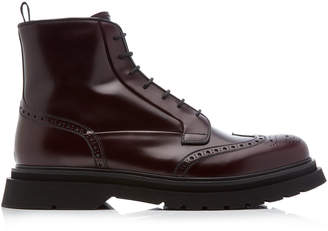 Prada Cordovan Leather Ankle Boots