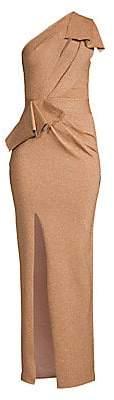 Herve Leger Women's One-Shoulder Metallic Draped Gown