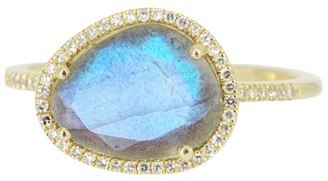 Kamaria Labradorite Pebble Ring With Diamonds