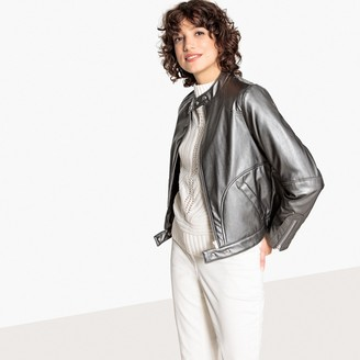 La Redoute Collections Metallic Faux Leather Bomber Jacket