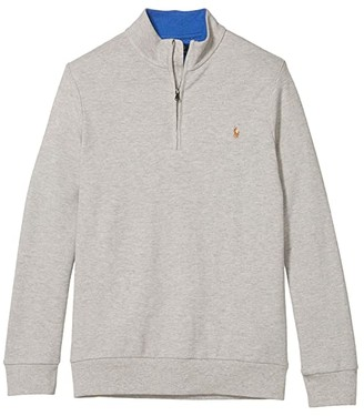 Polo Ralph Lauren Kids Cotton Mesh 1/2 Zip Pullover (Big Kids) (Dockside Blue Heather) Boy's Clothing
