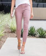 Amaryllis Women's Jeggings Pink - Pink Crop Faux-Button Pocket Jeggings - Women & Plus