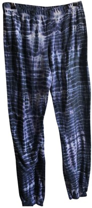 LnA Blue Cotton Trousers for Women