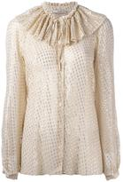 Etro ruffled neck shirt