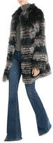 Yves Salomon Variegated Fox Fur Coat