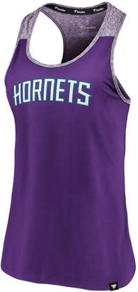 Women's Fanatics Branded Purple/Heathered Purple Charlotte Hornets Made to Move Static Performance Racerback Tank Top