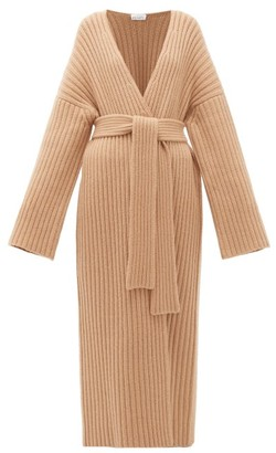 Raey Belted Ribbed-knit Cashmere Maxi Cardigan - Womens - Beige