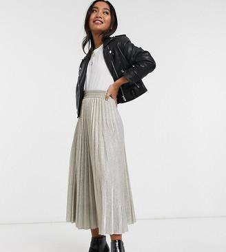 New Look Petite glitter pleated midi skirt in gold