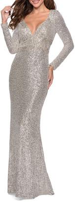La Femme Sequin V-Neck Long-Sleeve Gown w/ Keyhole Back