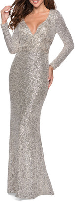La Femme Sequin V-Neck Long-Sleeve Gown w/ Keyhole Back