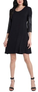 MSK Petite Faux-Leather-Sleeve Dress
