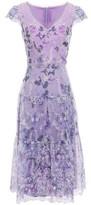 Marchesa Embroidered Floral-print Organza Dress