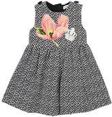 Dolce & Gabbana Floral-Patch Chevron-Striped Dress & Bloomers Set-BLACK, NO COLOR