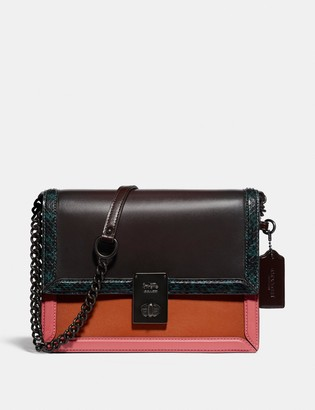 Coach Hutton Shoulder Bag In Colorblock With Snakeskin Detail