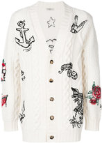 Valentino tattoo embroidered cable knit cardigan